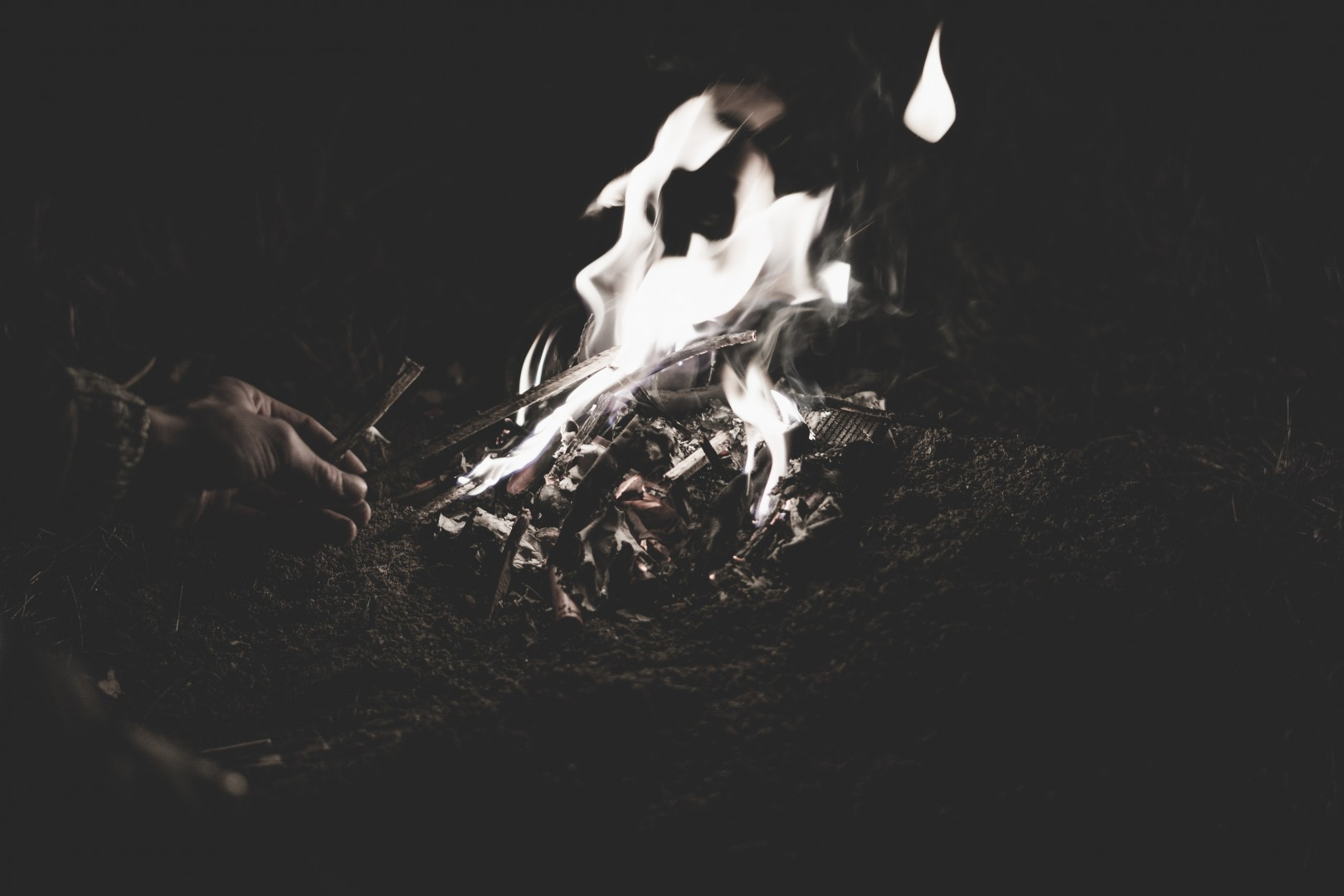 small fire burning