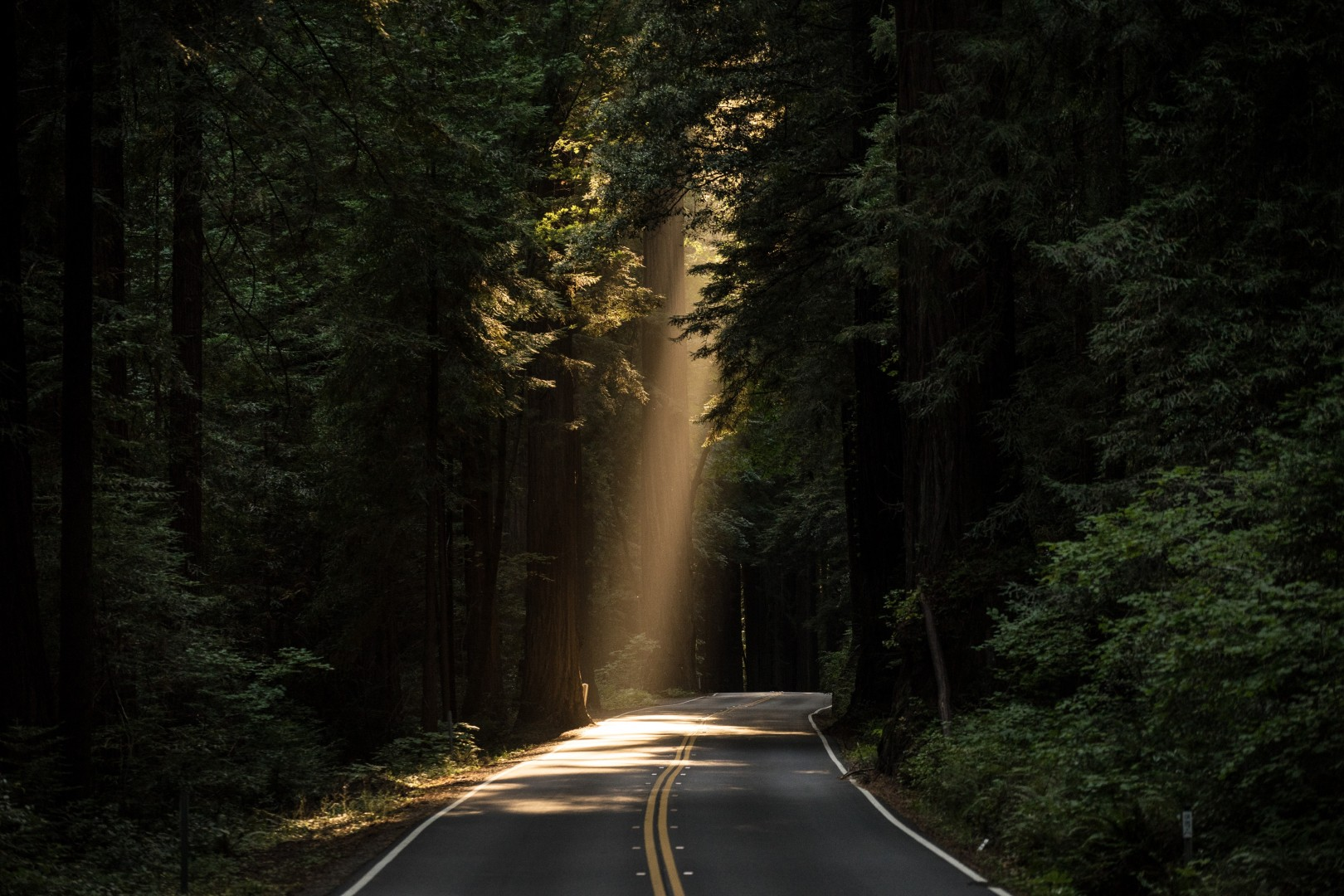 road with a ray of light coming down