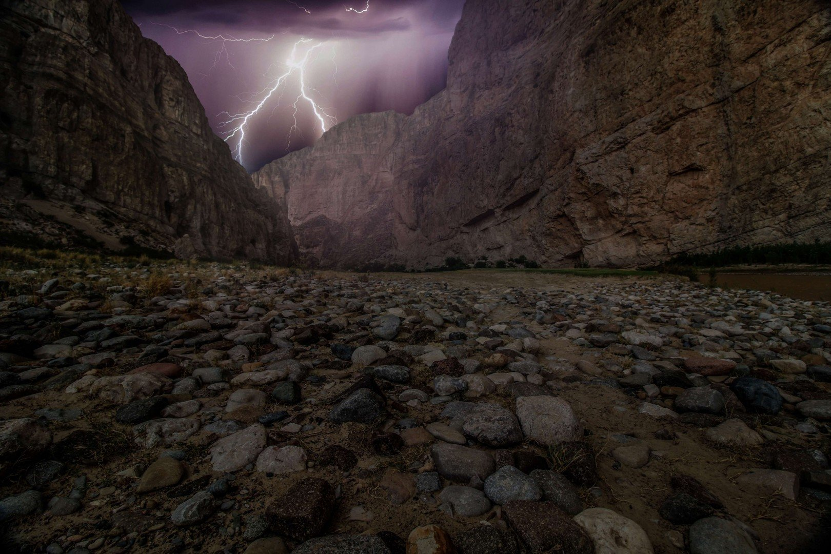 valley with lightening