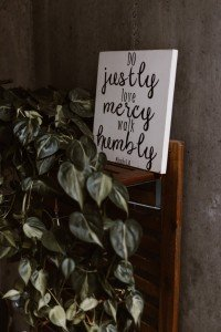 humility sign with plant